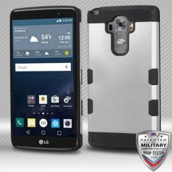 LG G Stylo Rubberized Space Silver/Black Hybrid Case