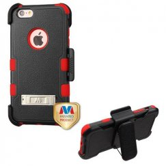 Apple iPhone 6/6s Plus Natural Black/Red Hybrid Case Combo with Stand and Black Horizontal Holster
