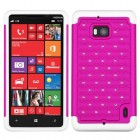 Nokia Lumia Icon Hot Pink/Solid White Luxurious Lattice Dazzling TotalDefense Protector Cover