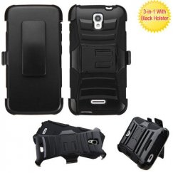 Alcatel One Touch Pop Astro Black/Black Advanced Armor Stand Case with Black Holster