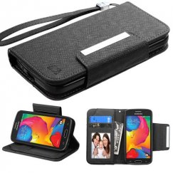 Samsung Galaxy Avant Black Deluxe Wallet with Magnetic Closure