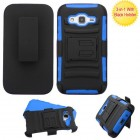 Samsung Galaxy Core Prime Black/Dark Blue Advanced Armor Stand Case with Black Holster