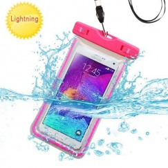 Universal Hot Pink Lightning Waterproof Bag with Lanyard