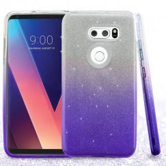 LG V30 Purple Gradient Glitter Hybrid Case