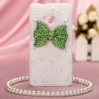 HTC One M7 Lighnt Green Bow Pearl 3D Diamante Back Case