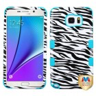 Samsung Galaxy Note 5 Zebra Skin/Tropical Teal Hybrid Phone Protector Cover