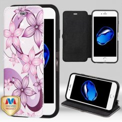 Apple iPhone 7 Purple Hibiscus Flower Romance DiamanteWallet with Natural Black/Black Tray