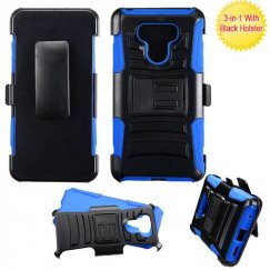 LG G6 Black/ Blue Advanced Armor Stand Case Combo with Black Holster