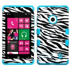Nokia Lumia 521 Zebra Skin/Tropical Teal Hybrid Case