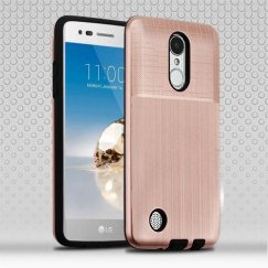 LG K8 / Phoenix 3 Rose Gold Woven & Brushed/Black Hybrid Protector Cover