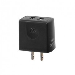 Black Travel Charger Adapter with Dual USB output (2.1 Amps)