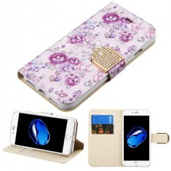 Apple iPhone 7 Fresh Purple Flowers Diamante Wallet with Diamante Belt