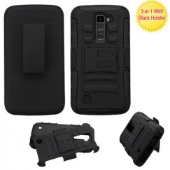 LG K10 Black/Black Advanced Armor Stand Case with Black Holster