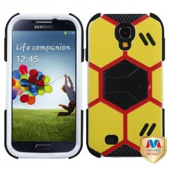 Samsung Galaxy S4 Yellow/Black Goalkeeper Hybrid Case with Black Stand