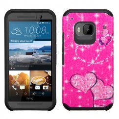 HTC One M9 Glittering Butterfly/Heart Hot Pink/Black Advanced Armor Case