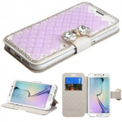 Samsung Galaxy S6 Edge Baby Purple Square Crystals Wallet with Crystal Butterfly Belt