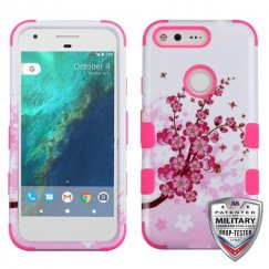 Google Pixel Spring Flowers/Electric Pink Hybrid Case - Military Grade