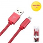 Red Micro USB USB Braided Leather Data Cable (with Aluminum Alloy Connector Encapsulation) 3.3FT