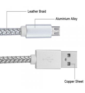 Silver Micro USB USB Braided Leather Data Cable with Aluminum Alloy Connector Encapsulation 3. 3 Feet