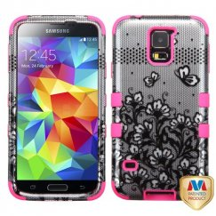 Samsung Galaxy S5 Black Lace Flowers 2D Silver/Electric Pink Hybrid Case