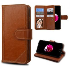 Apple iPhone 7 Plus Brown Genuine Leather Deluxe Wallet with Button Closure