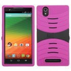 ZTE ZMax Black/Hot Pink Wave Symbiosis Case with Horizontal Stand