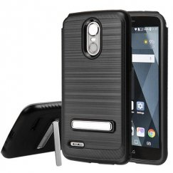 LG G Stylo 3 Black Brushed & Carbon Fiber Accent/Black Hybrid Case with Magnetic Metal Stand