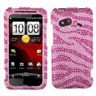 HTC Droid Incredible 4G LTE Zebra Skin (Pink/Hot Pink) Diamante Case