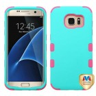 Samsung Galaxy S7 Edge Rubberized Teal Green/Electric Pink Hybrid Phone Protector Cover