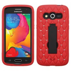 Samsung Galaxy Avant Black/Red Symbiosis Stand Case with Diamonds
