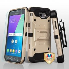 Samsung Galaxy J3 Gold/Black 3-in-1 Kinetic Hybrid Case Combo with Black Holster and Tempered Glass Screen Protector