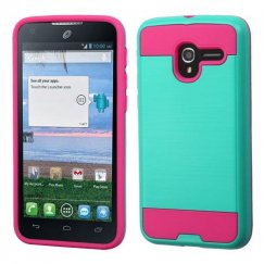 Alcatel Stellar / Tru 5065 Teal Green/Hot Pink Brushed Hybrid Case
