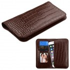 Universal Brown Crocodile-Embossed Genuine Leather Wallet Pouch