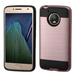 Motorola Moto G Rose Gold/Black Brushed Hybrid Case