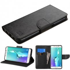 Samsung Galaxy S6 Edge Plus Black Pattern/Black Liner wallet with Card Slot