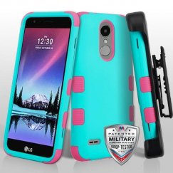 LG K8 Rubberized Teal Green/Electric Pink Hybrid Phone Case Military with Black Horizontal Holster