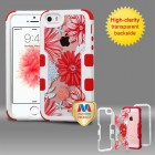 Apple iPhone SE Natural Ivory White Frame Spring Daisies PC Back/Red Vivid Hybrid Case
