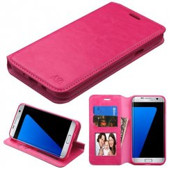 Samsung Galaxy J7 Hot Pink Wallet with Tray
