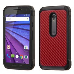 Motorola Moto G 3rd Gen Red Carbon-Fiber Backing/Black Astronoot Case