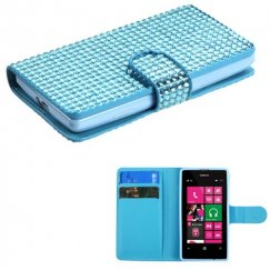 Nokia Lumia 521 Light Blue Diamonds Book-Style Wallet with Card Slot