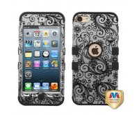 Black Four-Leaf Clover (2D Silver)/Black TUFF Hybrid Phone Protector Cover