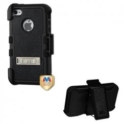 Apple iPhone 4/4s Natural Black/Black Hybrid Case with Stand and Black Horizontal Holster