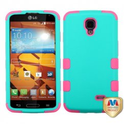 LG LS740 Volt Rubberized Teal Green/Electric Pink Hybrid Case