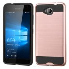 Nokia Lumia 650 Rose Gold/Black Brushed Hybrid Protector Cover