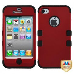 Apple iPhone 4/4s Titanium Red/Black Hybrid Case