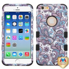 Apple iPhone 6/6s Purple European Flowers/Black Hybrid Case
