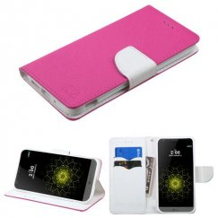 LG G5 Hot Pink Pattern/White Liner wallet with Card Slot