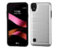 LG X Style / Tribute HD Silver/Black Brushed Hybrid Protector Cover (with Carbon Fiber Accent)