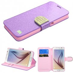 Samsung Galaxy S6 Purple Glittering Wallet with Diamante Belt