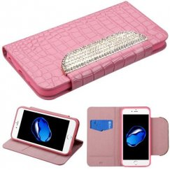 Apple iPhone 8 Pink Crocodile Skin/Diamante Belt Wallet